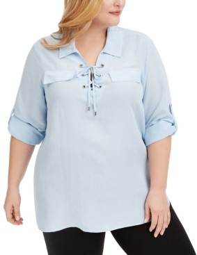 Calvin Klein Plus Size Lace-Up Shirt