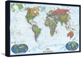 Art.com World Political Map, Decorator Style Stretched Canvas Print By National Geographic Maps - 61x81 cm