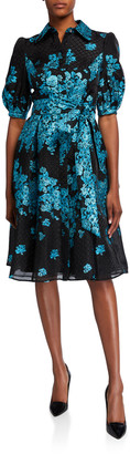 Rickie Freeman For Teri Jon Metallic Floral Embroidered Belted Organza Shirtdress