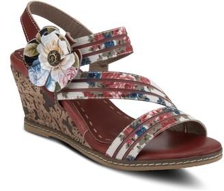 Spring Step L'Artiste By Floral Leather Sandals- Landy