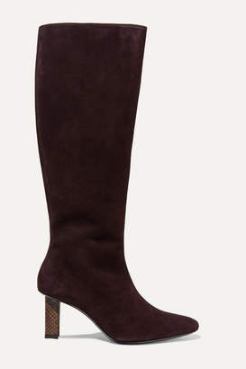 STAUD Benny Snake-effect Leather-trimmed Suede Knee Boots - Brown