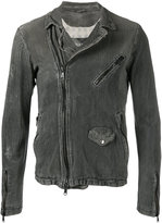 Giorgio Brato classic biker jacket - men - Cotton/Linen/Flax/Leather/Nylon - 46