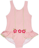 Florence Eiseman Skirted Striped Seersucker Swimsuit, Pink, Size 2T-6X