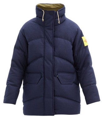 The North Face Lakspur Logo-patch Quilted Down Wool-blend Jacket - Navy