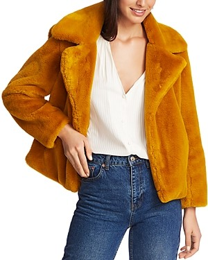 1 STATE Cropped Faux-Fur Jacket