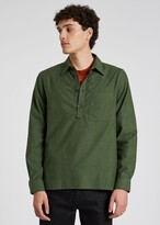 Thumbnail for your product : Paul Smith Men's Green Cotton Flannel Popover Shirt