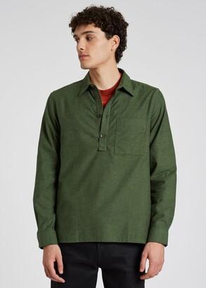 Paul Smith Men's Green Cotton Flannel Popover Shirt