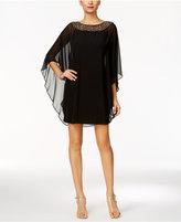 Xscape Evenings Petite Embellished Chiffon Cape-Overlay Dress