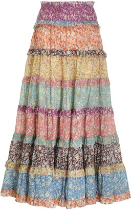 Zimmermann Carnaby Tiered Midi Skirt