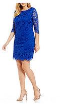 Jessica Howard Plus 3/4-Sleeve Lace Shift Dress