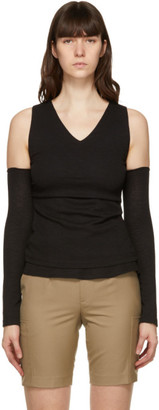 ANDERSSON BELL Black Cut-Off Drape Long Sleeve T-Shirt