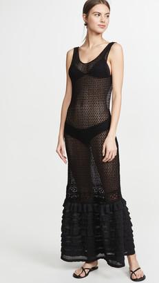 CHIO Long Ruffle Tube Dress