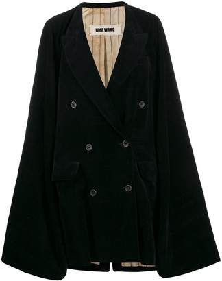 UMA WANG double-breasted cape coat