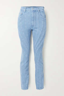Thierry Mugler Paneled High-rise Slim-leg Jeans - Bright blue