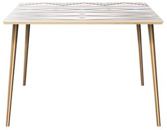 Bungalow Rose Huguenot Dining Table Table Top Boarder Color: Natural, Table Base Color: Brass, Table Top Color: Pink/Blue