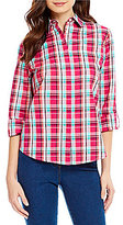 Allison Daley Point Collar Roll-Tab Sleeve Button Front Plaid Shirt