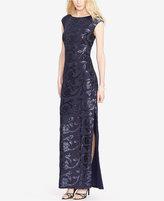 Lauren Ralph Lauren Sequined Floral-Print Gown