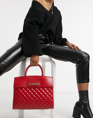 Love Moschino quilted tote bag with top handle in red