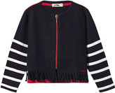 Junior Gaultier Navy Wool and Stripe Fringe Cardigan