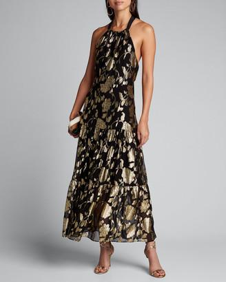 Milly Metallic Floral Chiffon Tiered Halter Dress