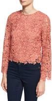 Alice + Olivia Pasha Long-Sleeve Jewel-Neck Blouse Top, Pink/Orange