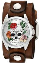 Nemesis Women's Silver Skull and Roses Faded Brown Leather Cuff Analog Display Japanese Quartz Watch