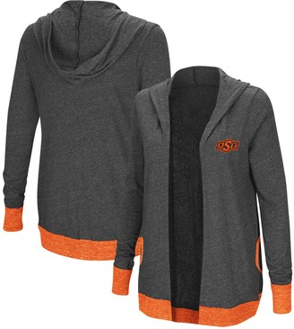 Colosseum Women's Charcoal Oklahoma State Cowboys Steeplechase Open Cardigan with Hood