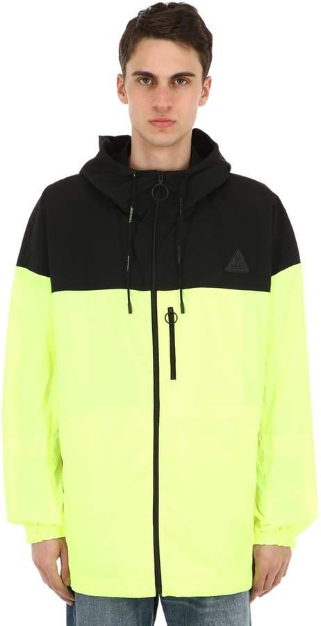 Off-White Hooded Neon Nylon Windbreaker Jacket