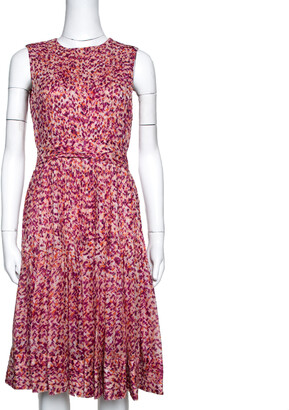 Carolina Herrera Fuschia & Orange Abstract Printed Silk Pleated Dress S