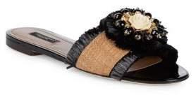 Dolce & Gabbana Embellished Raffia Slides