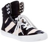 Striped High Top tennis shoe