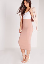 Missguided Petite Longline Jersey Midi Skirt Pink