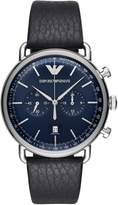 Emporio Armani Men's 'Dress' Quartz Stainless Steel and Leather Casual Watch, Color: (Model: AR11105)