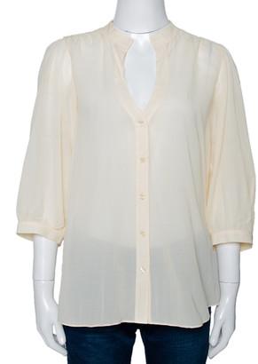 Diane von Furstenberg Cream Silk Blend Button Front Elias Blouse L