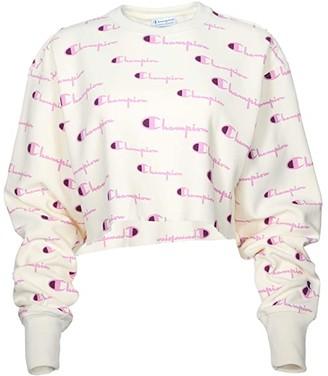 Champion Reverse Weave(r) Crop Crew - Multi Script (Chalk White Multi) Women's Clothing