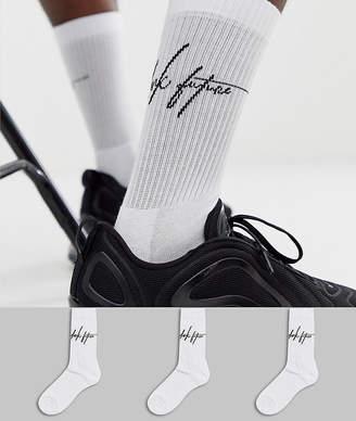Asos Design DESIGN 3 pack design sport sock with dark future logo save-White