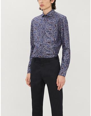 Corneliani Floral-print tailored-fit cotton-twill shirt