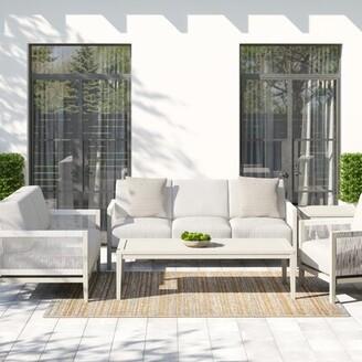 """Greyleighâ""""¢ Almyra 5 Piece Sunbrella Sofa Seating Group with Cushions Greyleigha Cushion Color: Cast Oasis"""