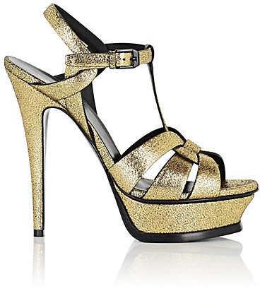 Saint Laurent Women's Tribute Leather Platform Sandals - Gold