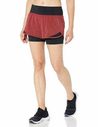 Core 10 Amazon Brand Women's (XS-3X) Knit Waistband '2-in-1' Run Short with Built-in Compression Short
