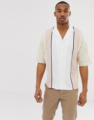 Asos Design DESIGN oversized button through revere polo shirt with half sleeve in vertical colour block-Beige