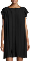 Max Studio Cap-Sleeve Pleated Chiffon Dress, Black