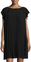 Max Studio Cap-Sleeve Pleated Chiffon Dress, Black