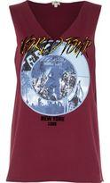 River Island Womens Red 'world tour' rock band print tank top