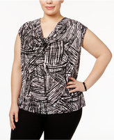 Kasper Plus Size Printed Cowl-Neck Top