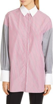 PARTOW Hugo Mixed Stripe Cotton Poplin Shirt