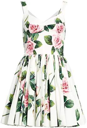Dolce & Gabbana Rose Print Bustier Fit-&-Flare Dress