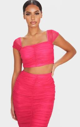 PrettyLittleThing Hot Pink Mesh Ruched Front Crop Top