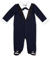 Miniclasix Footed Cotton Jersey Tuxedo Coverall, Navy, Size 3-9 Months