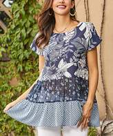Suzanne Betro Weekend Women's Tunics 101NAVY - Navy & White Floral Sheer Panel Tiered Tunic - Women